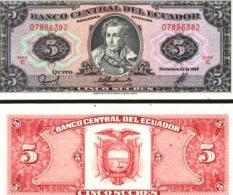 Ecuador #113d Serie IC, 5 Sucres, 1988, UNC - Ecuador