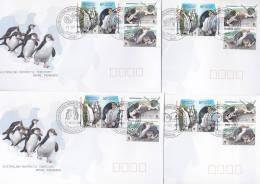 AAT 2007 Royal Penguins, Eudyptes Set 4 Bases FDC - Australian Antarctic Territory (AAT)