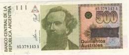 BILLET # ARGENTINE # 1988 # 500 AUSTRALES  # QUINIENTOS  AUSTRALES # NICOLAS AVELLANEDA - Argentine