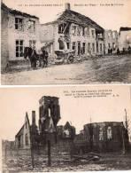"""2 Cpa Guerre 14/17, La Bataille De L\´Yser, Une Rue L\´église De PERRYSE \""""après Le Passage Des Barbares  Bon état (16.1 - Belgique"""