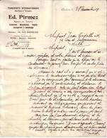 BELGIQUE - CHARLEROI - TRANSPORTS INTERNATIONAUX MARTIMES ET TERRESTRES - DOUANE - ED. PIRMEZ - LETTRE - 1908 - 1900 – 1949
