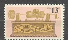 USA UNITED STATES 1977 MCHL 1293 MUSIC MNH ** POSTFRIS NEUF - United States