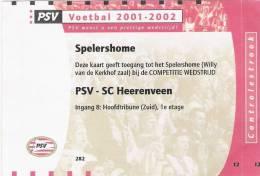 PSV-SC Heerenveen Dutch League Football Match Ticket - Tickets D'entrée