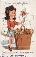Carte Postale  Système De La CORSE Jeune Fille Panier Fleur ....Tirette 10 Vues  VOIR 2 SCANS - - Mechanical