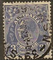 AUSTRALIA 1926 3d Deep Ultra KGV SG 100b U YH221 - Used Stamps