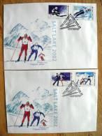 2 FDC Cover From Belarus, 2002 Year, Sport Olympic Salt Leke Biathlon Figure Skating Jumping Slalom Ski - Wit-Rusland