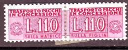 REPUBBLICA PACCHI IN CONCESSIONE 1955-81  N. 12  110L. LILLA  NUOVO*  1 VALORE - Colis-concession