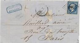 Lettre 20c Empire Napoléon N°14 Orléans Loiret 11/7/1860 Paris Seine Petits Chiffres 2340 Timbre Bleu Terne - Postmark Collection (Covers)