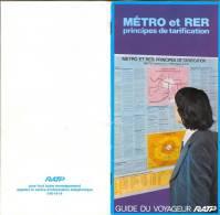 GUIDE DU VOYAGEUR RATP - METRO Et RER - Principes De Tarification (Février 1978) - Europe