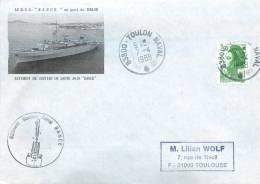 BSS  RANCE AU PORT DE TOULON  BATIMENT SOUTIEN SANTE  TOULON NAVAL 7/4/1988 - Poststempel (Briefe)