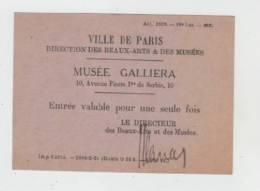 Musee Galliera-ville De Paris-ticket Entree - Tickets D'entrée