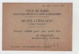 Musee Cernuschi-ville De Paris-ticket Entree - Tickets D'entrée