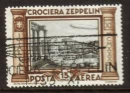 1933 Crociera Zeppelin  Lire 15  Usato, Con Timbro Della Crociera   Cat. Eu 500 !! - Gebraucht
