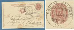 AMBULANTE  FOGGIA BOLOGNA   SU INTERO POSTALE  IN DATA  11 LUGLIO 1896 - 1878-00 Umberto I
