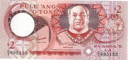 TONGA 2 PA'ANGA  RED KING PORTRAIT FRONT PALM TREES WOMAN BACK  ND(1995) P32 EF READ DESCRIPTION - Tonga
