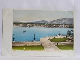 CPA Suisse - Précurseur - Genève - Quai Des Eaux Vives, Le Salève Et Le Mont-Blanc - GE Genève