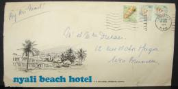 LetDoc. 13. Trois Timbres Du Kenya Sur Enveloppe Du Nyali Beach Hotel De 1974 - Kenya (1963-...)