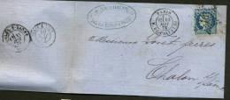 PARIS: Pli Avec 25c CERES Dentelé Oblt Etoile 16 + CàDate PARIS R. DE PALESTRO Pour CHALON Sur SAONE - 1849-1876: Période Classique