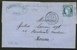 PARIS: Pli Avec 25c CERES Dentelé Oblt Etoile 17 + CàDate PARIS R. DU PONT-NEUF Pour CHALON Sur ROUEN - 1849-1876: Période Classique