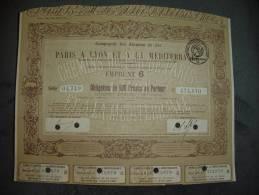 """Obligation""""Chemin De Fer De Paris à Lyon Et à La Méditérranée""""Paris 1920 Bon état,reste Des Coupons,annulée - Chemin De Fer & Tramway"""