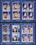 ROMANIA 2003 Owls Set Of 6 Sheetlets MNH / **.  Michel 5729-34 Klb - Blocks & Sheetlets