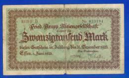 REIHE B _Nr. 033194 _ FRIED. KRUPP AKTIENGESELLSCHAFT Nimmt Für ZWANZIGTAUSEND MARK_ 1923 - [ 3] 1918-1933 : République De Weimar
