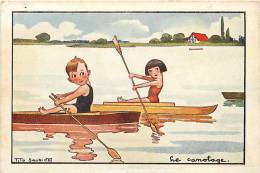 Themes Div- Sports - Ref E744- Illustrateur Tito Saubidet - Le Canotage - Enfants  -carte Bon Etat  - - Aviron