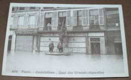 Paris - Inondation - Quai Des Grands Augustins - Librairie Centrale - Achat Livre - Inondations De 1910