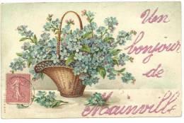 CPA Un Bonjour De Mainville Pailletée Panier De Fleurs 1907 - Saluti Da.../ Gruss Aus...