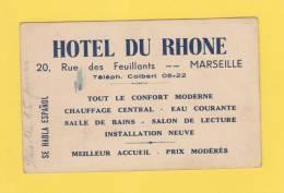 Carte Commerciale - MARSEILLE - Hotel Du Rhone - 20 Rue Des Feuillants - Téléphone Colbert - 1900 – 1949