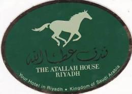 SAUDI ARABIA RIYADH ATALLAH HOUSE HOTEL GREEN VINTAGE LUGGAGE LABEL - Hotel Labels