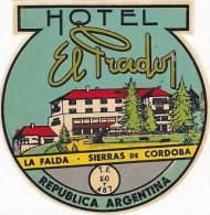 ARGENTINA CORDOBA HOTEL EL PRADO VINTAGE LUGGAGE LABEL - Hotel Labels