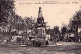 Pontlieue..très Animée..Monument Aux Morts..soldats..guerre 1870..attelages..café - France