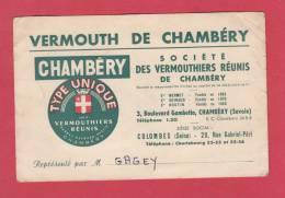 Carte Publicitaire - CHAMBERY - Société Des Vermouthiers Réunis - 3 Boulevard Gambetta - France