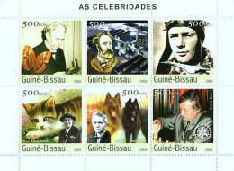 Gb3503 Guinea Bissau 2003 Celebrities S/s A Schweitzer Jules Verne Butterfly Space Concorde Cat O Baden Powell Scouting - Albert Schweitzer