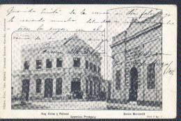 Paraguay 1908 YT 103, 149. Tarjeta (Asuncion - Esquina Colon Y Palmas. Banco Mercantil, Circulada A Bolivia. 2 Scan - Paraguay