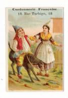 """CHROMO  PUBLICITAIRE  """" CORDONNERIE  FRANCAISE , Chaussures """" /  LE  CIDRE  ( Paysan Sur âne, Serveuse, Alcool ) - Chromos"""