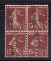 GF1042 - FRANCIA , Quartina Del 15 Cent Con Annullo Lineare A Tampone - Varietà E Curiosità