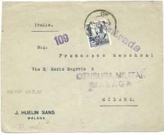 SPAGNA - SPAIN - LETTERA VS ITALIA - ANNO 1938   - BOLLO DI CENSURA  MILITARE - MALAGA - Marcas De Censura Nacional
