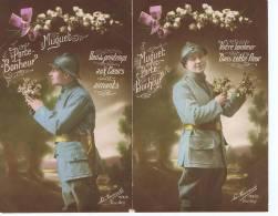 2 Cpa Militaria , 1er Mai , Muguet Porte Bonheur , Edition La Favorite 155 - Guerre 1914-18