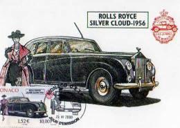 Carte 1° Jour,obliteration, Timbre Rolls Royce Silver Cloud 1956, Monaco 23-6-2000, Illustrateur - Monaco
