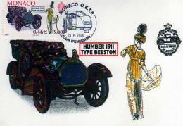 Carte 1° Jour,obliteration, Timbre, Humber 1911 Type Beeston,Monaco 23-6-2000, Illustrateur - Monaco