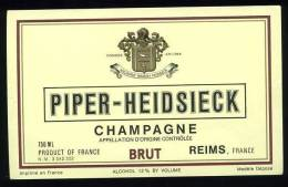 Etiquette Champagne PIPER-HEIDSIECK - Brut - Reims - Champagne