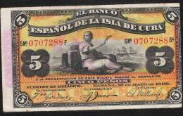 CUBA   P48b   5   PESOS   1896    AUNC. - Cuba