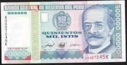 PERU  Low Number  P147 500.000 INTIS 1989 #A000 - - - -  UNC. - Pérou