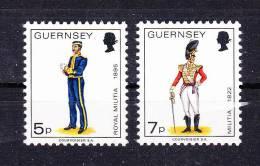 GUERNSEY   1976 , Military Uniforms   ,   Y&T #  130/1   ,  Cv  0,70 E  , ** M N H , V V F - Guernesey