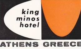 GREECE ATHENS KING MINOS HOTEL VINTAGE LUGGAGE LABEL - Hotel Labels