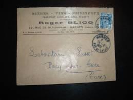 LETTRE TP MARIANNE DE GANDON 15F OBL. 24-6-1952 HARNES (62 PAS DE CALAIS) + BIERES VINS SPIRITUEUX ROGER BLICQ - 1921-1960: Modern Tijdperk
