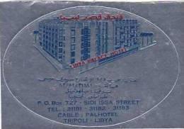 LIBYA TRIPOLI LIBYA PALACE HOTEL VINTAGE LUGGAGE LABEL - Hotel Labels