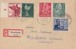DR R-Brief Mif Minr.888,894,895,898,902 Ravensburg 7.10.44 - Briefe U. Dokumente